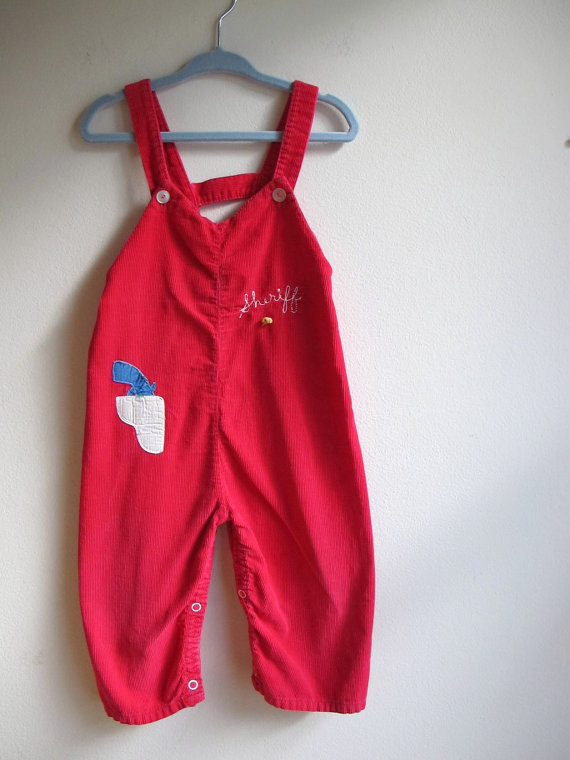 Vintage 1950s Red Corduroy Sheriff Childrens Overalls