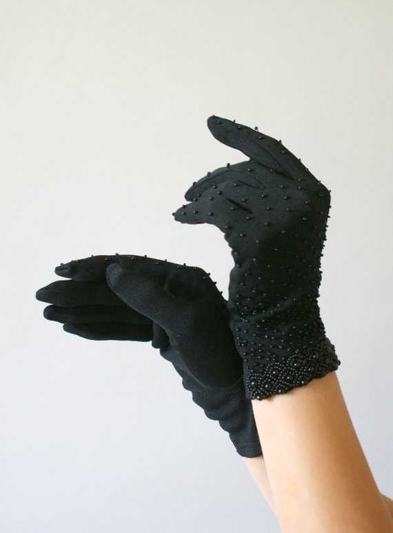1950s Vintage Gloves - Beaded Black Lady Gloves