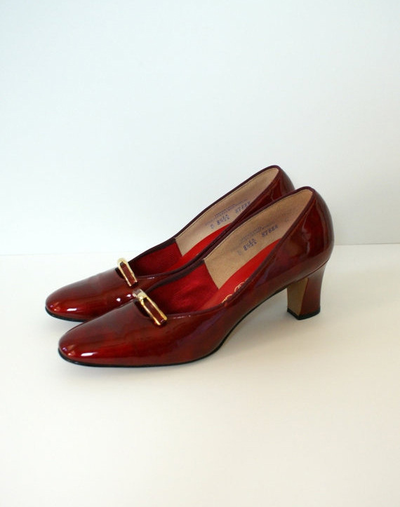 Vintage 1960s Heels - Mod Red Patent Leather Pumps