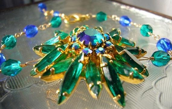 Rhinestone Bracelet Green Blue Gold Vintage