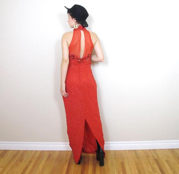 80s Red Sequin Silk Beaded Halter Trophy Evening Dress