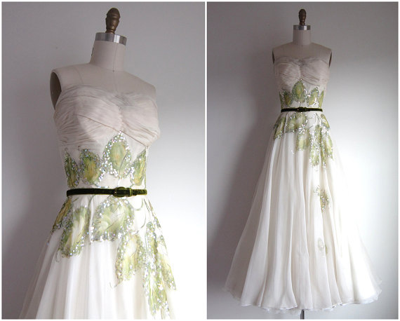 1950s Ivory Crepe Chiffon Hand Painted Formal Gown