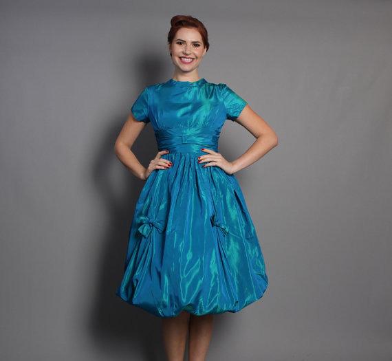 50s BLUE Sharkskin Cocktail DRESS