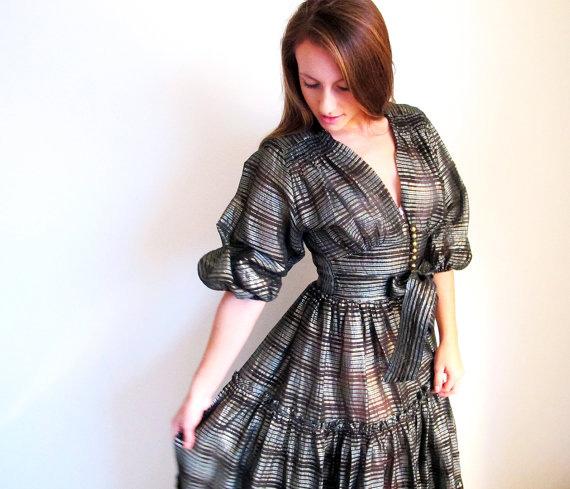 1940s Vintage Metallic Evening Dress