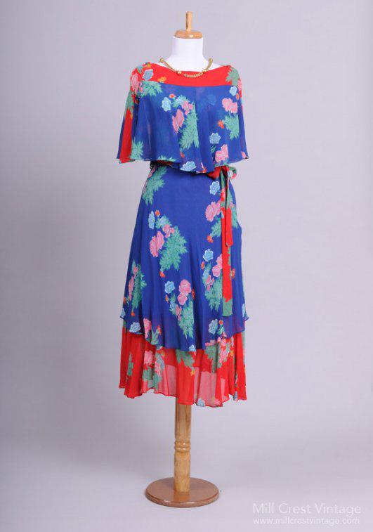 1970 Boho Chiffon Vintage Party Dress
