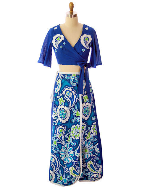 Vintage 2 PC Summer Skirt & Midriff Top 1970s Blues