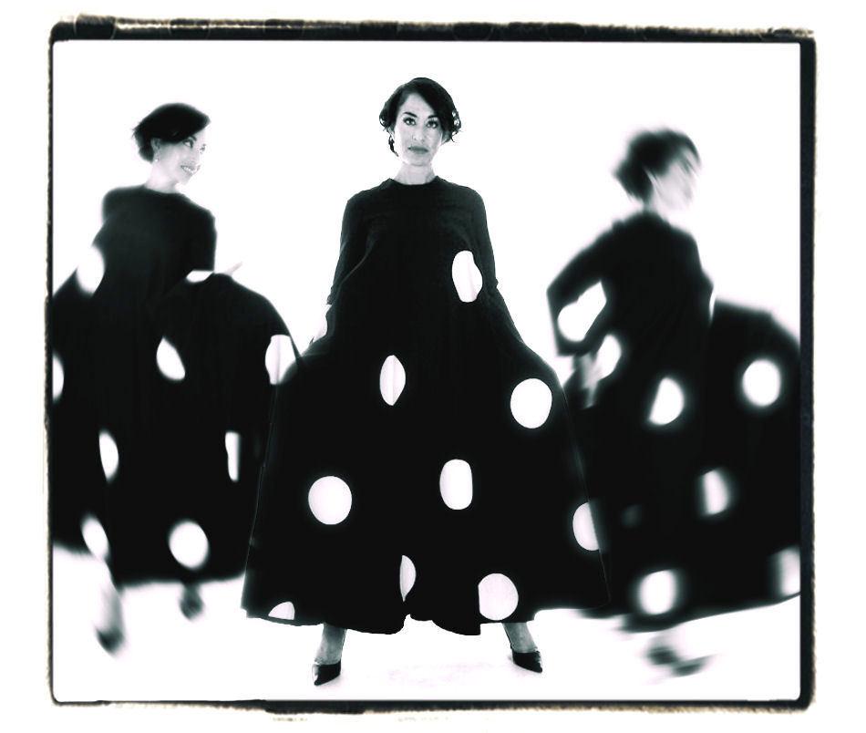 Vintage Mod Trapeze Dress Vuokko Nurmesniemi Black /White Polka Dots 1970s