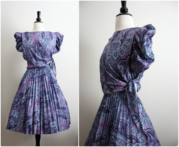 Vintage Penelope Pleated full Skirt Dress