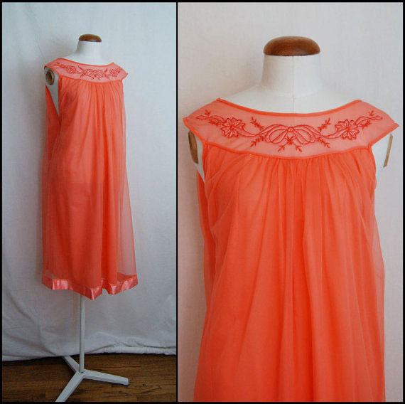 1960s Coral Pink Chiffon Vintage Nightgown