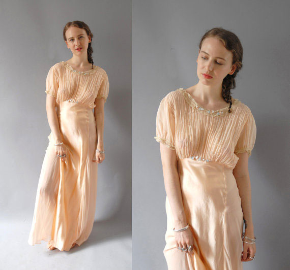 1930s Gown / Chiffon Silk Nightgown