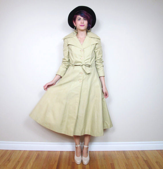 70s Mod Khaki Trench Coat Full Skirt