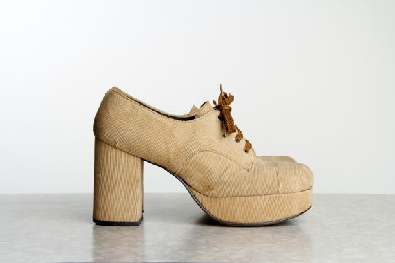 Corduroy Platform Shoes 1970s