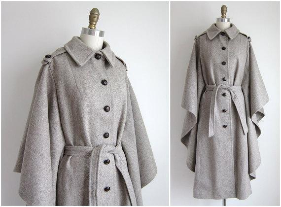 Vintage 1970s Wool Cape