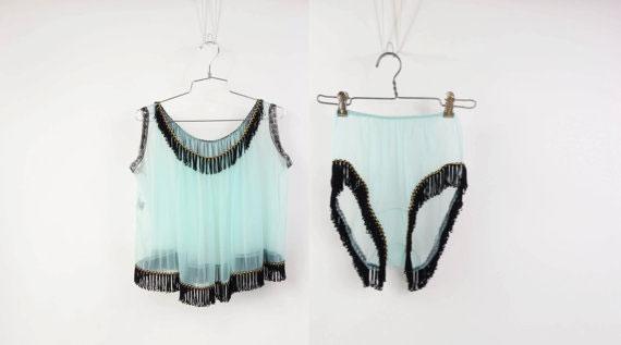 Vintage 1960s Lingerie Sheer Fringe Top and Panties