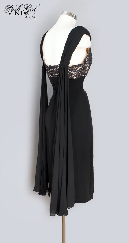 1960's Little Black Dress Lace & Silk Chiffon Falls