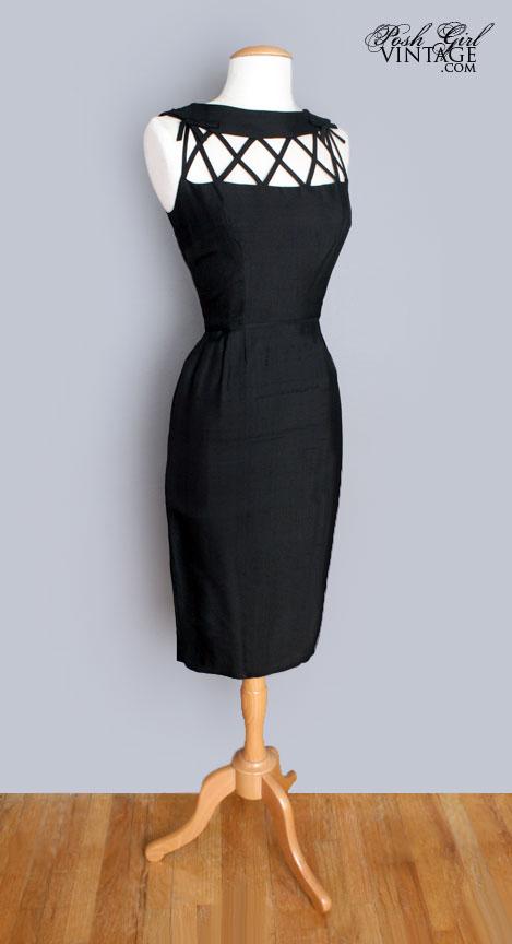 1960's Little Black Trellis Cocktail Dress