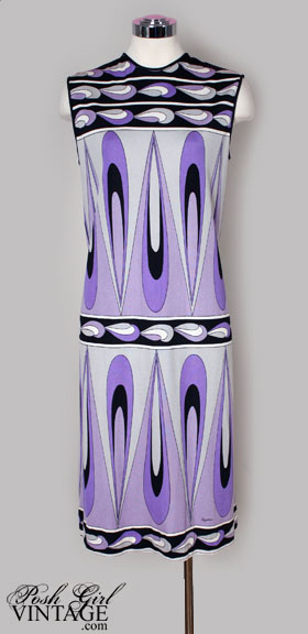 1960's MOD Purple Paganne Print Shift Dress
