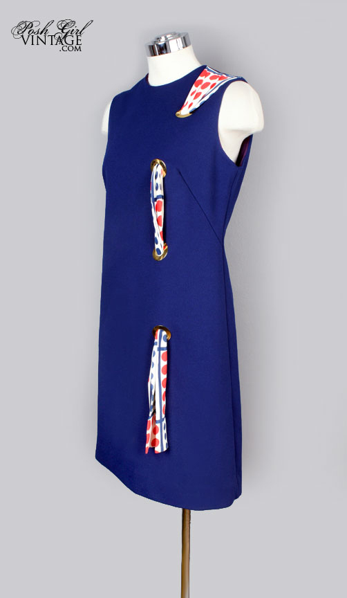 1960's Blue Shift Scarf Dress Airline Stewardess Style!