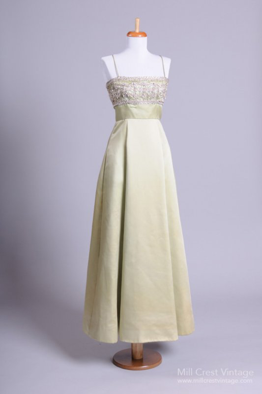 1960's Duchess Satin Vintage Evening Gown