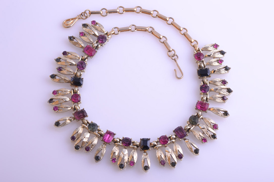 Coloured diamanté Coro necklace