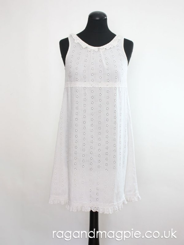 1960s White Frilled Broderie Anglais A-Line Dress