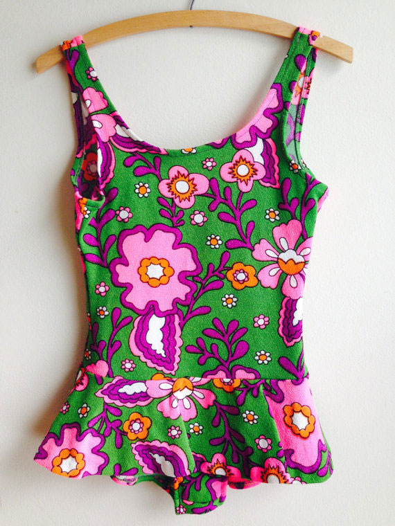 1960s Vintage Mod Psychedelic Pink Green Floral Bathing Suit
