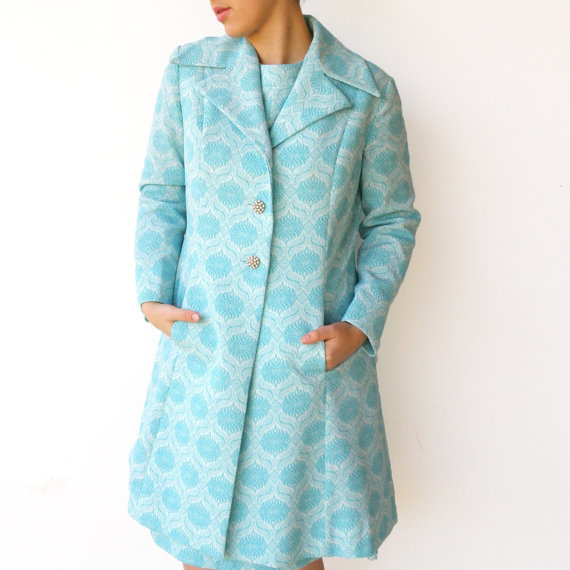 Vintage 1960s Royal Aquamarine Dress and Coat Set