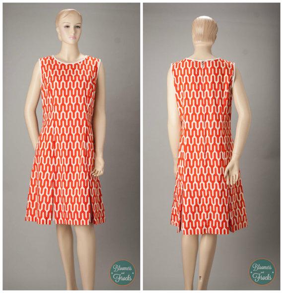 1960s Designer Brooke Cadwallader Orange and White Mod Print Dress