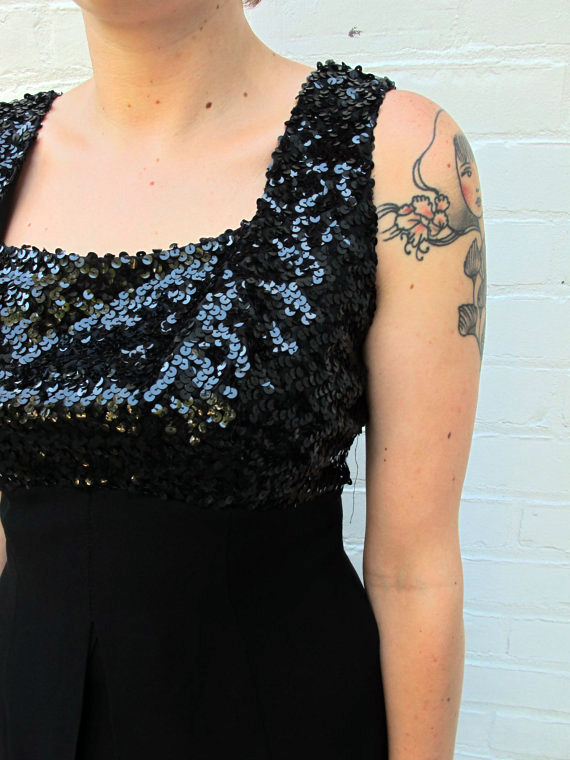 Vintage Ann Barry Jr. Black Sequins 1960s Bombshell Formal Wiggle Dress