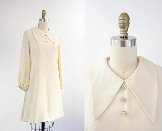 Vintage 1960s Mod Dress Ivory Medium