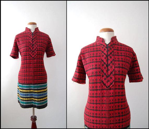 1960s Woven Patterned Vintage Mini Dress