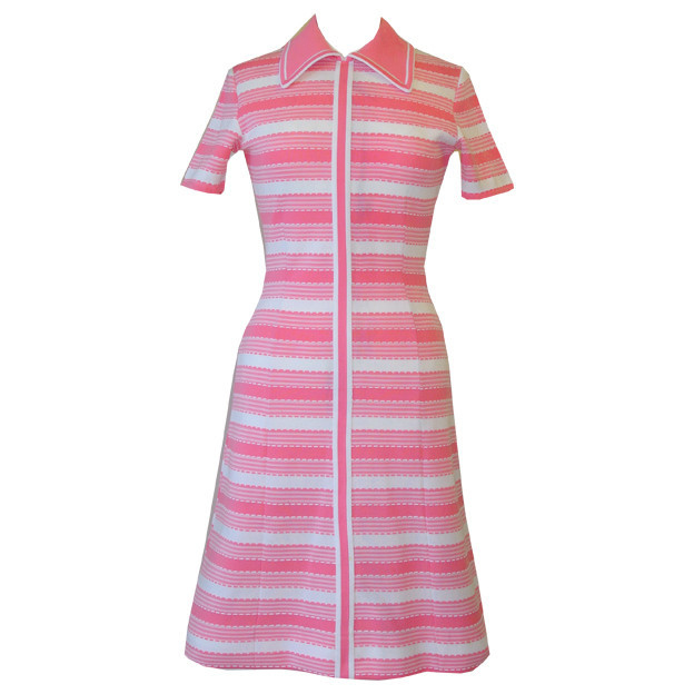 Pink and white stripe mod 1960s day dress