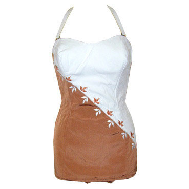 Sexy Slix unworn 1950s bronze blush and white halter hourglass swimsuit