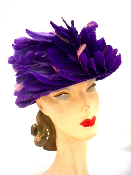 Vintage Ladies Hat Purple Feathers Swirl Bucket Hat 1950s One Size
