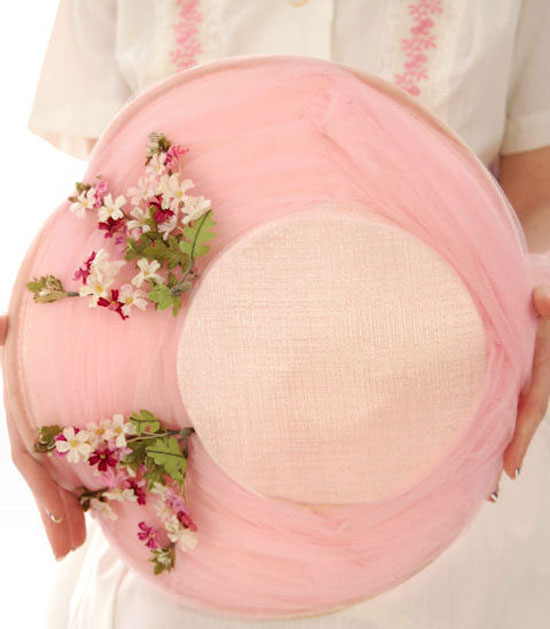 Vintage Pink Wide Brimmed Saucer Hat 1950s Pretty Flowers
