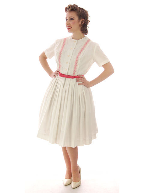 Vintage Day Dress White w/Pink Embroidery Bobbie Brooks