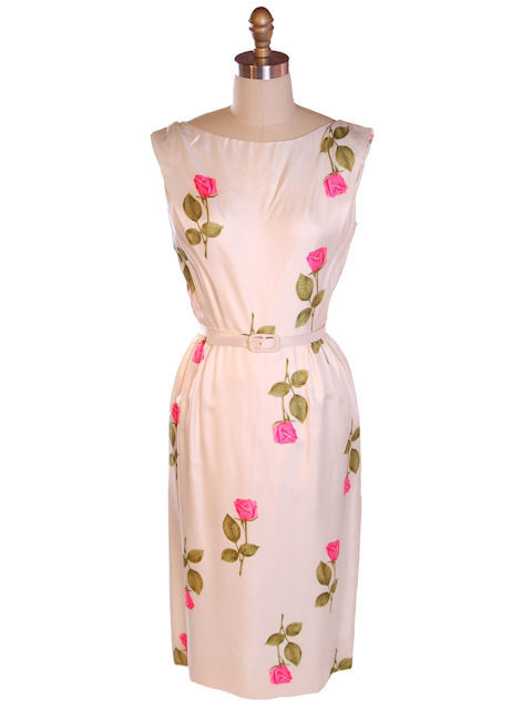 Vintage Fitted Silk Roses Day Dress Nat Kaplan NWT 1950S