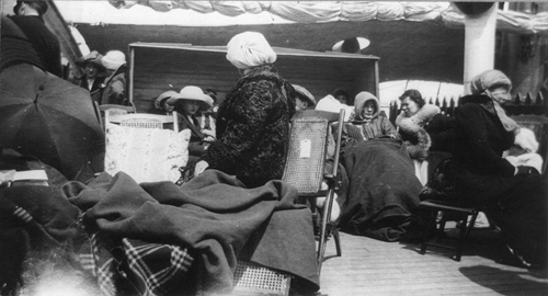 on   Group of survivors of the Titanic disaster aboard the Carpathia after being rescued.