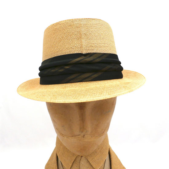 Vintage Mens Hat Fedora Natural Straw 1940s Borden