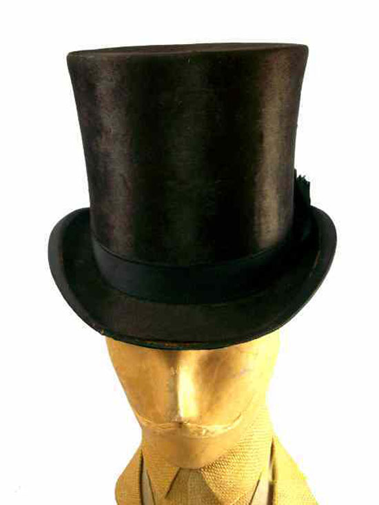 Antique Mens Stove Pipe Hat 1880s JH Windsor