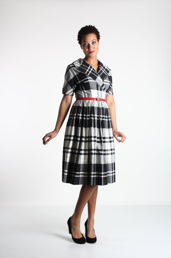 1950s Plaid Dress in Black and White