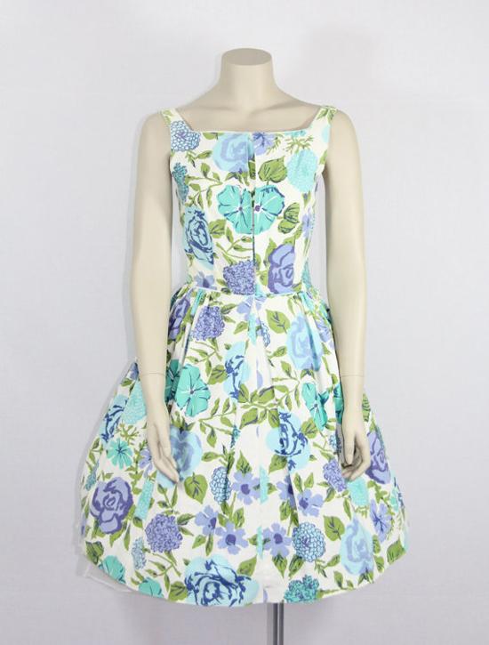 1950s Vintage Dress - Blue Aqua Green and White Cotton Sundress