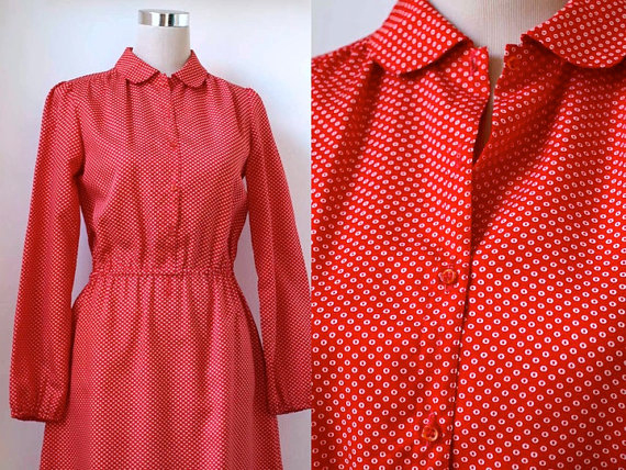 Red And White Polka Dot Dress With Peter Pan Collar