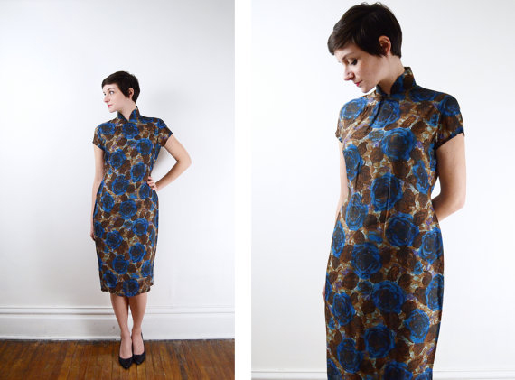 1950s Mandarin Fitted Dress