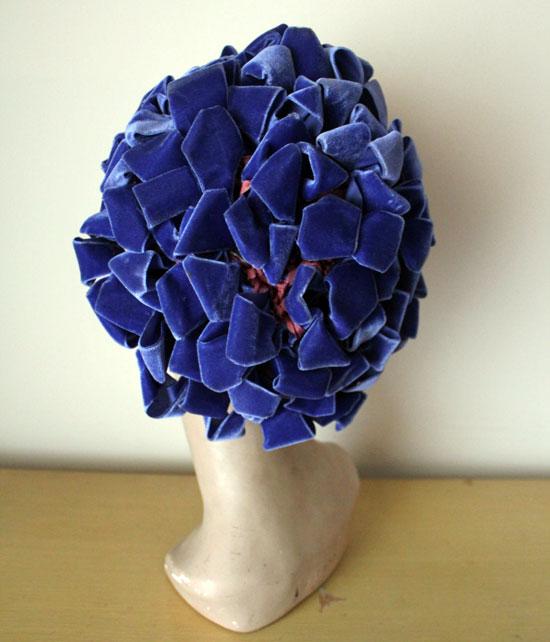 1960s Blue Velvet Hat