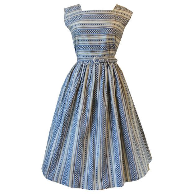 Aztec print 1950s unworn belted cotton day dress