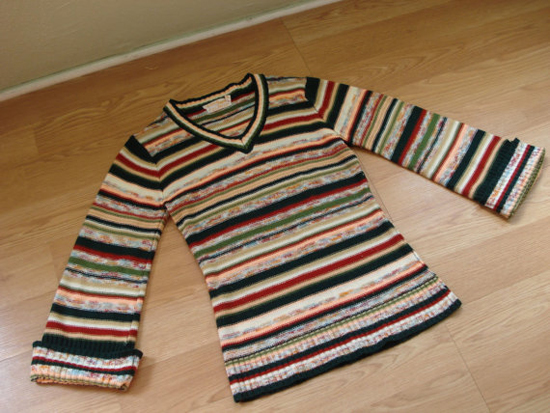 Vintage 1970s Striped Sweater Space Dye Earth Tone Striped