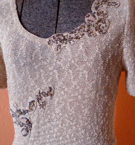 Vintage 1950s Wiggle Dress Knit Sequins Rhinestones