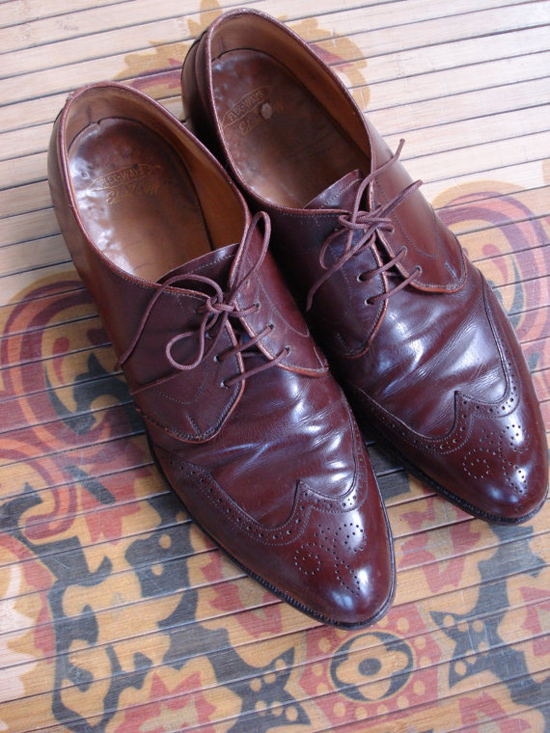 Vintage 1940s Mens Shoes Wing Tip Oxford Edwin Clapp