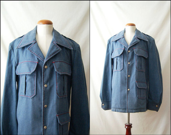 1970s Wool Lined Denim Vintage Jacket